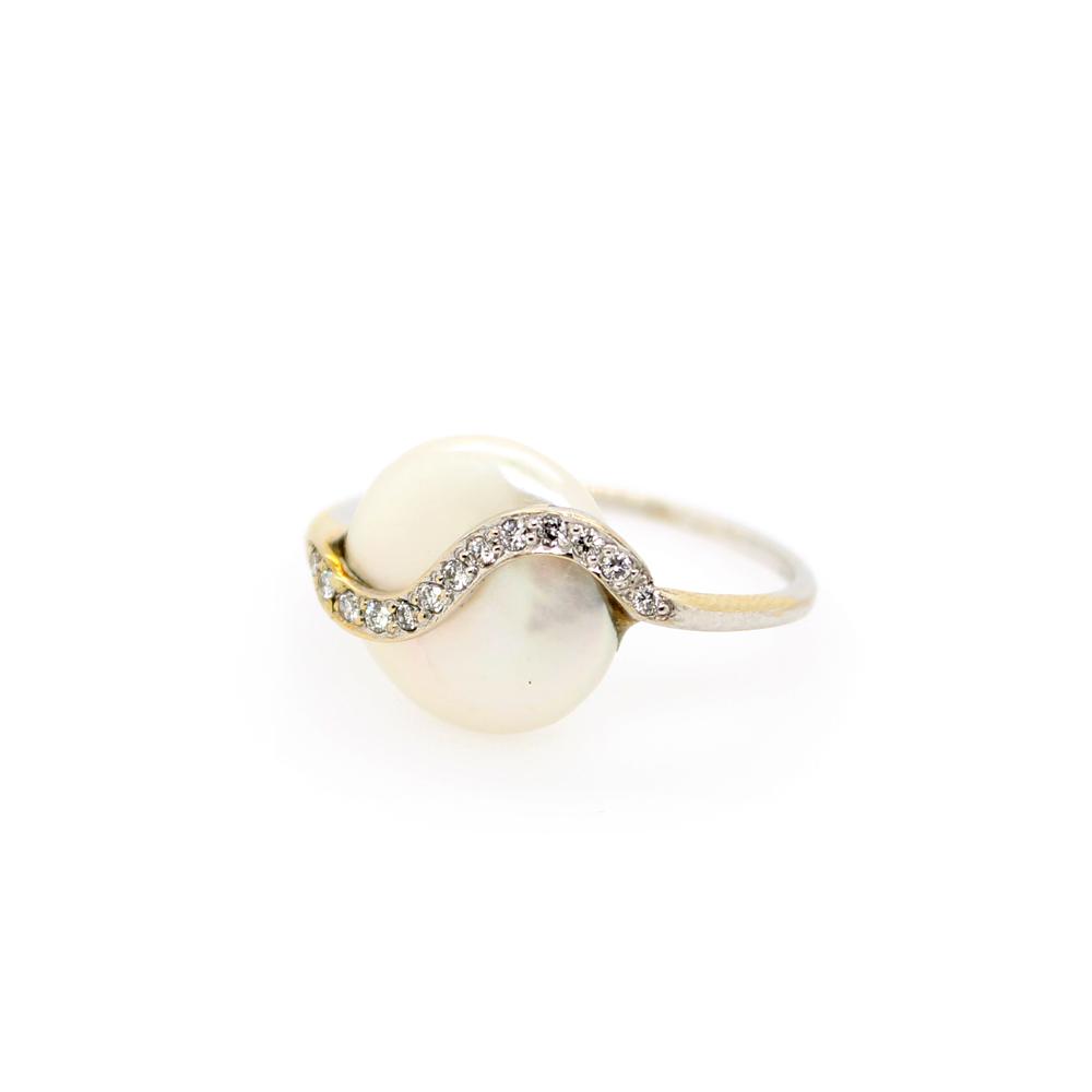 Vintage 14 Karat White Gold Pearl and Diamond Overlay Ring