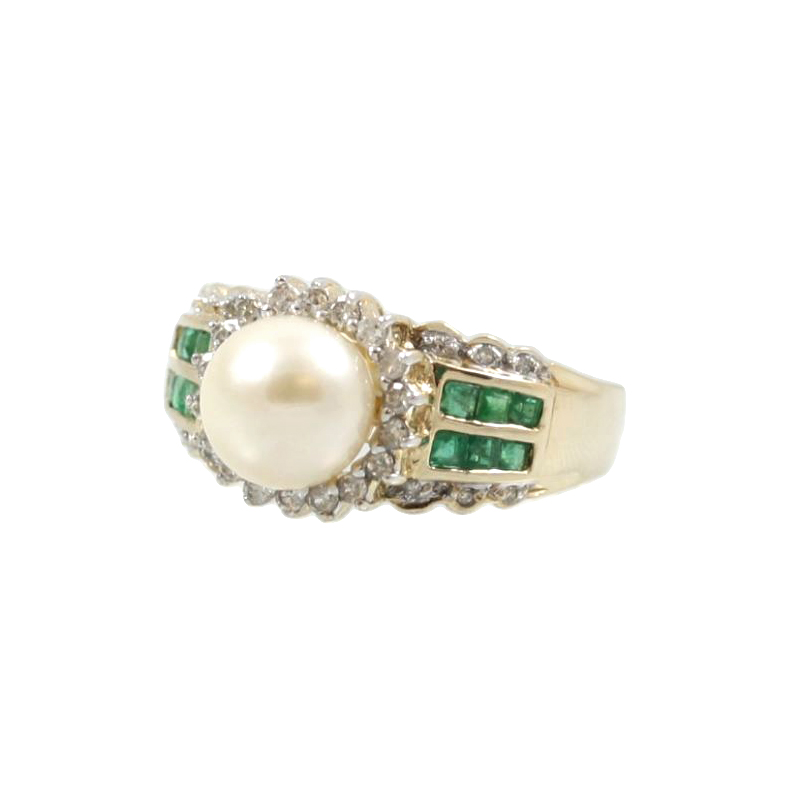 Estate 14 Karat Yellow Gold Pearl, Diamond and Emerald Ring