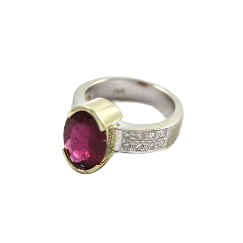 Vintage 14 Karat White Gold Rubelite and Diamond Ring