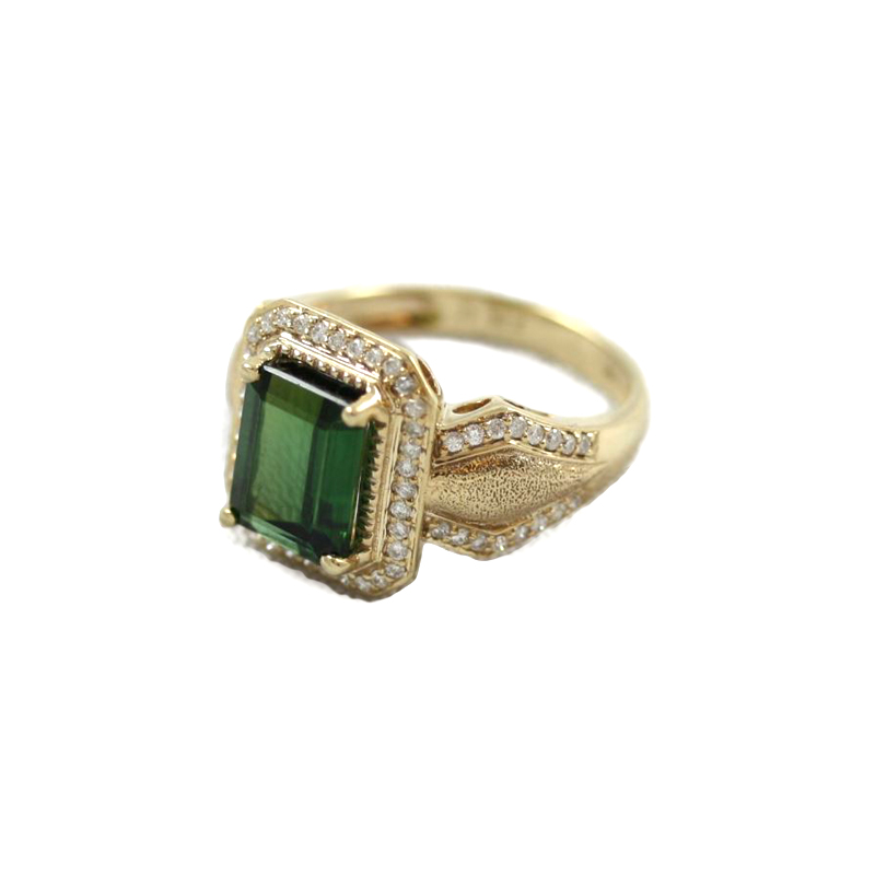 Estate 14 Karat Yellow Gold Chrome Tourmaline and Diamond Ring