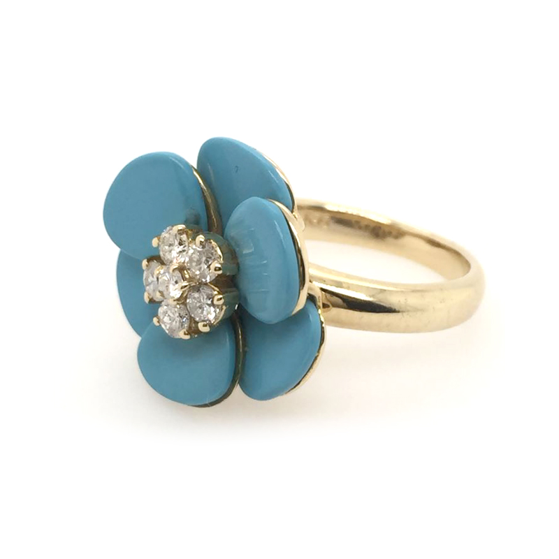 Vintage 14 Karat Yellow Gold Diamond and Turquoise Flower Ring