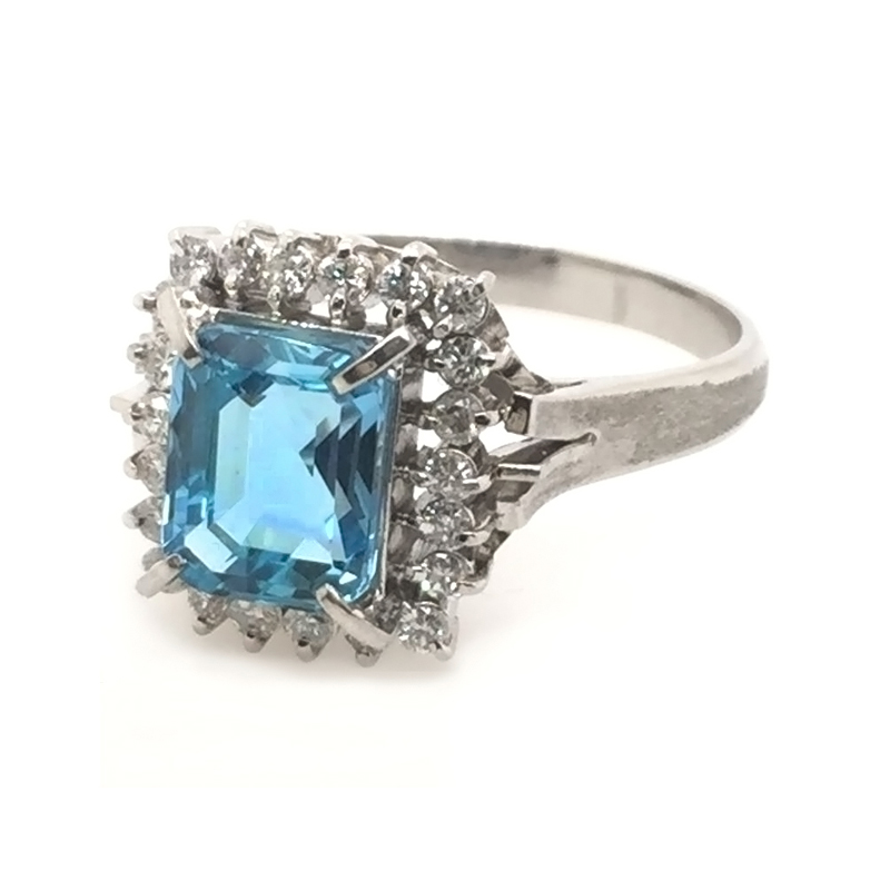 Vintage platinum , aqua and diamond ring