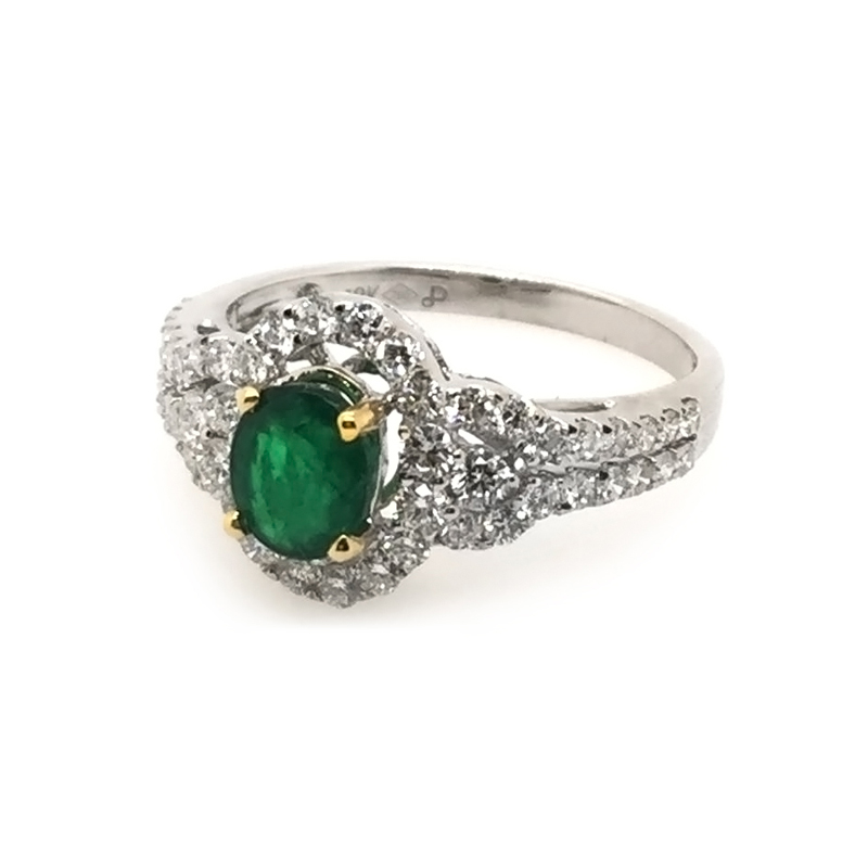 Vintage 18 Karat white gold, emerald and diamond ring