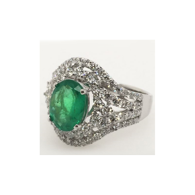 Estate 18 Karat white gold, emerald and diamond ring