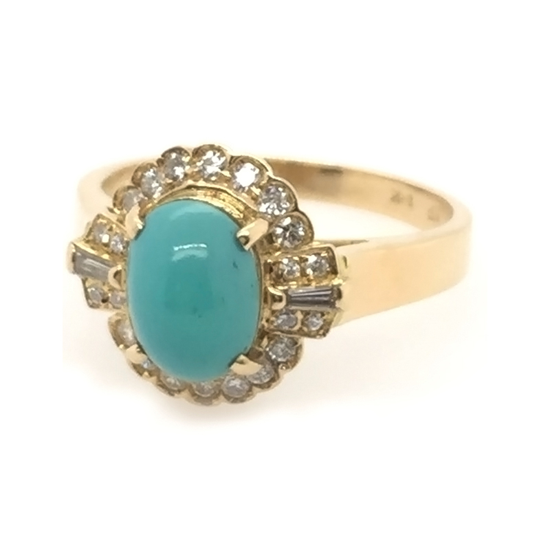 Vintage 18 Karat yellow gold, turquoise and diamond ring
