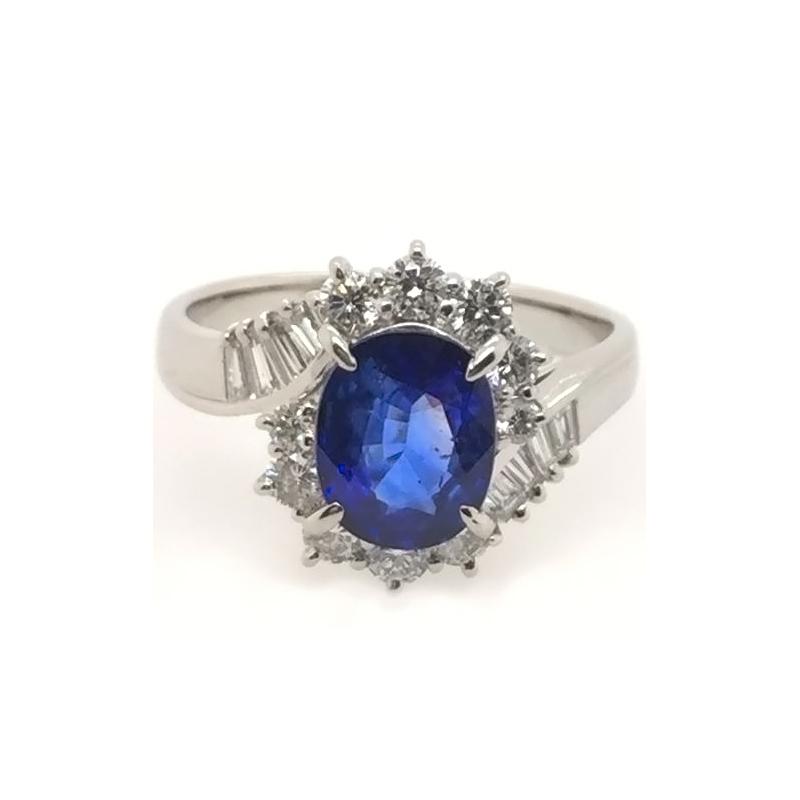 Vintage platinum, blue sapphire and diamond ring