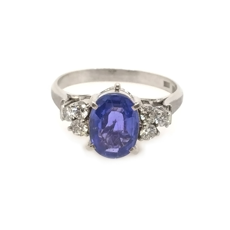 Vintage platinum, sapphire and diamond ring