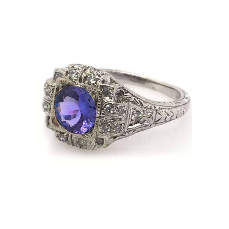 Vintage 14 Karat white gold, tanzanite and diamond ring