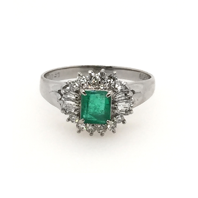 Vintage platinum, African Zambzan emerald and diamond ring