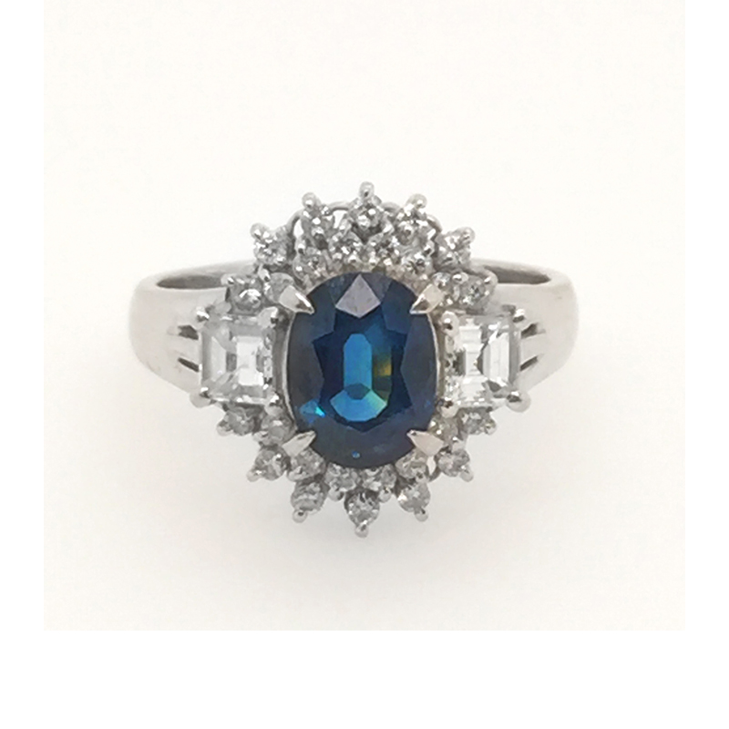 Vintage platinum, blue sapphire and diamond ring