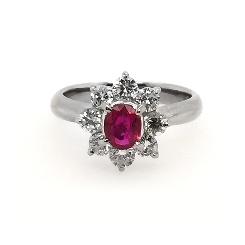 Estate platinum, ruby and diamond ring