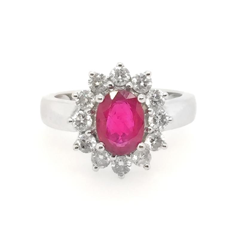Vintage 18 Karat white gold, ruby and diamond ring