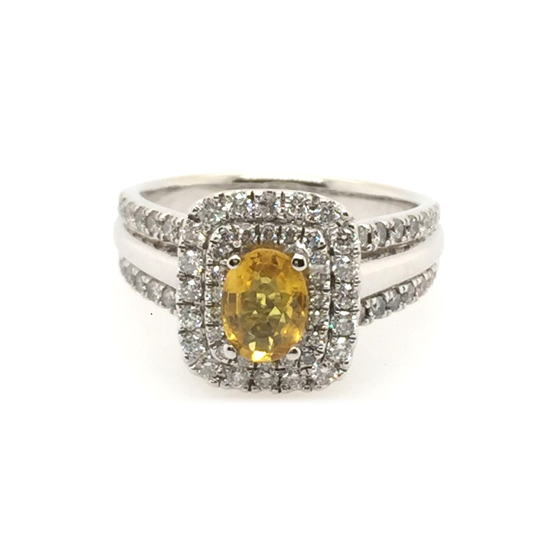 Vintage 14 Karat White Gold Yellow Sapphire and Diamond Ring.