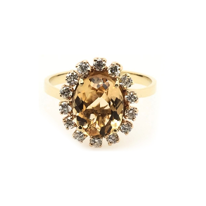 Vintage 14 Karat Yellow Gold Citrine and Diamond Ring