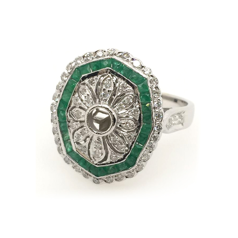 Vintage 18 Karat White Gold Diamond and Emerald Ring