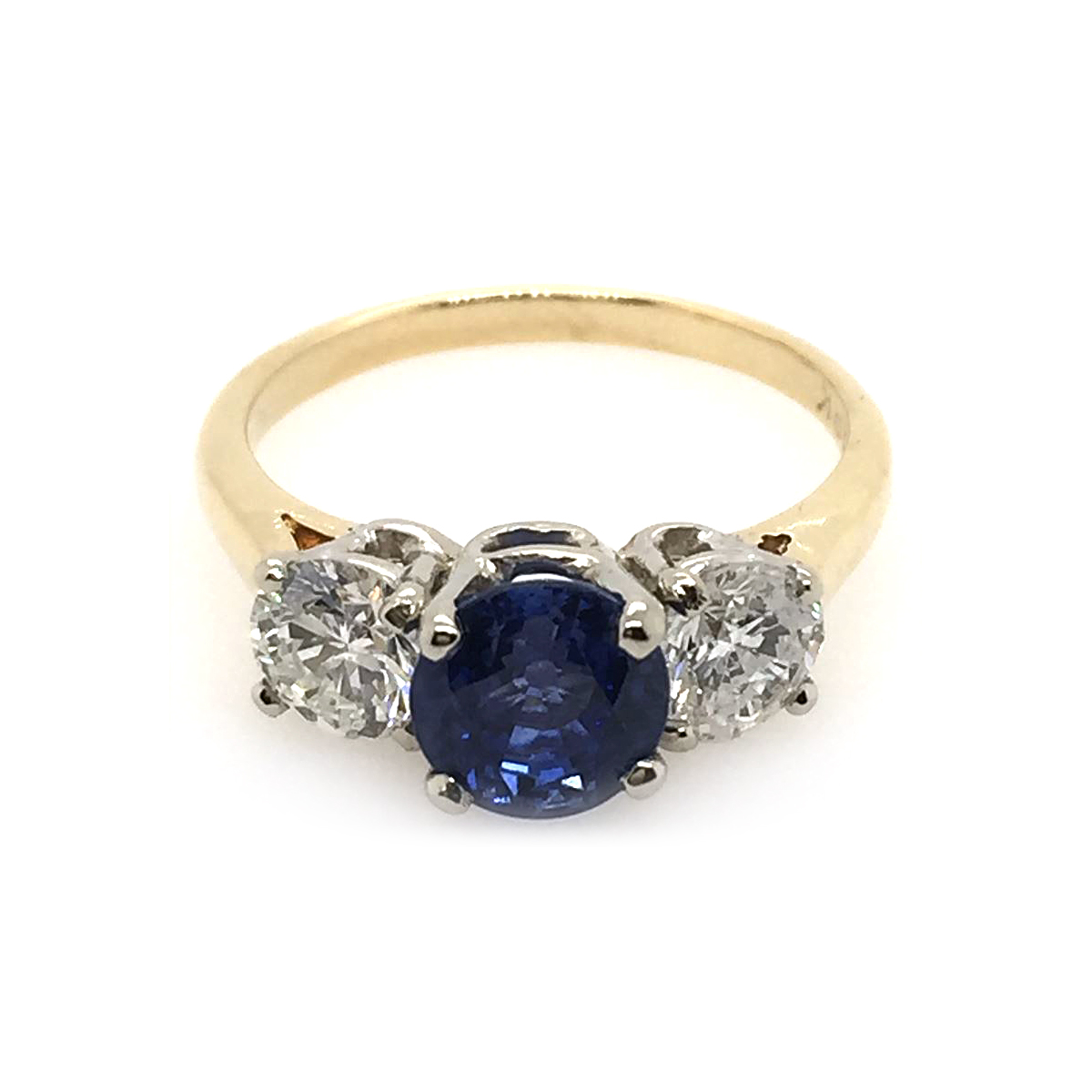 Vintage 18 Karat Yellow and White Gold Sapphire and Diamond Ring