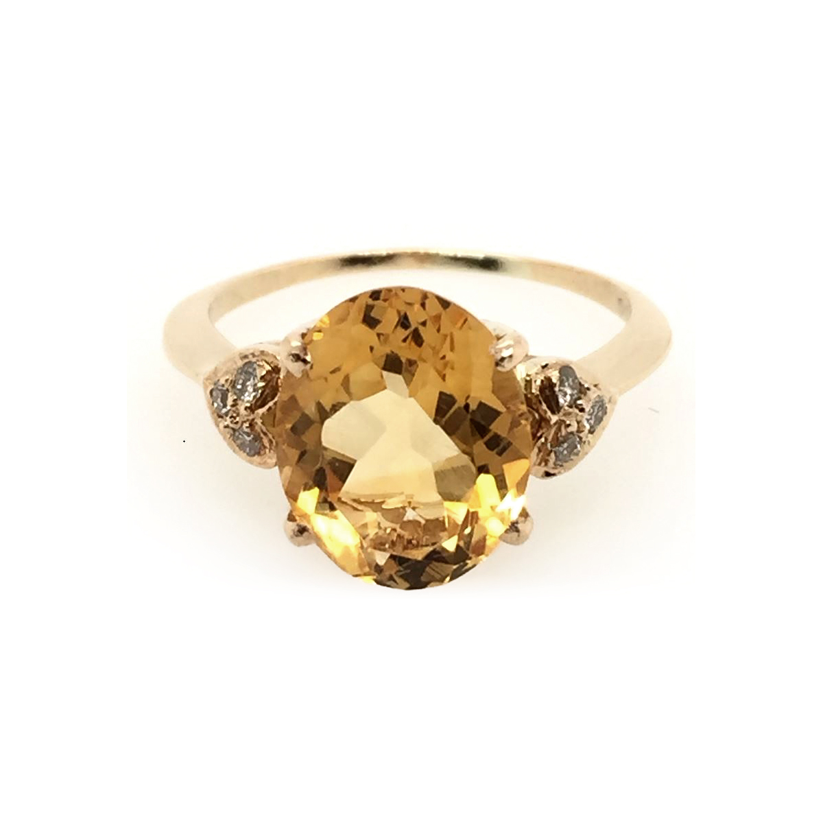 Vintage 18 Karat Yellow Gold Diamond and Citrine Ring