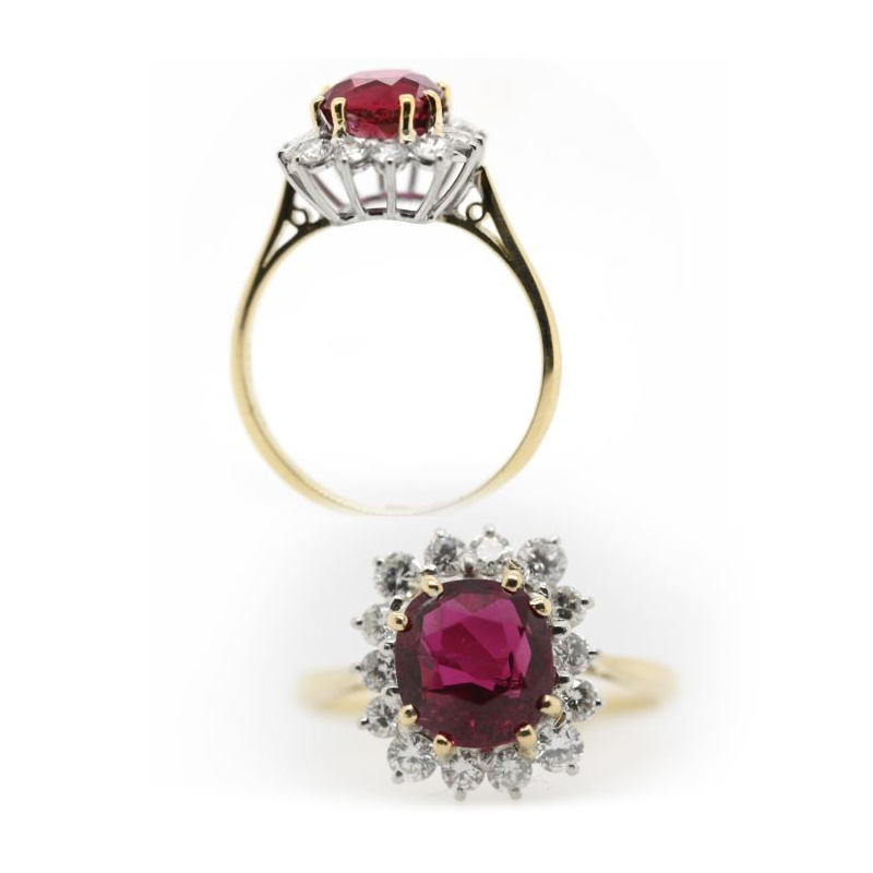 Estate 18 Karat Yellow Gold and Platinum GIA Certified Natural Ruby and Diamond Ring