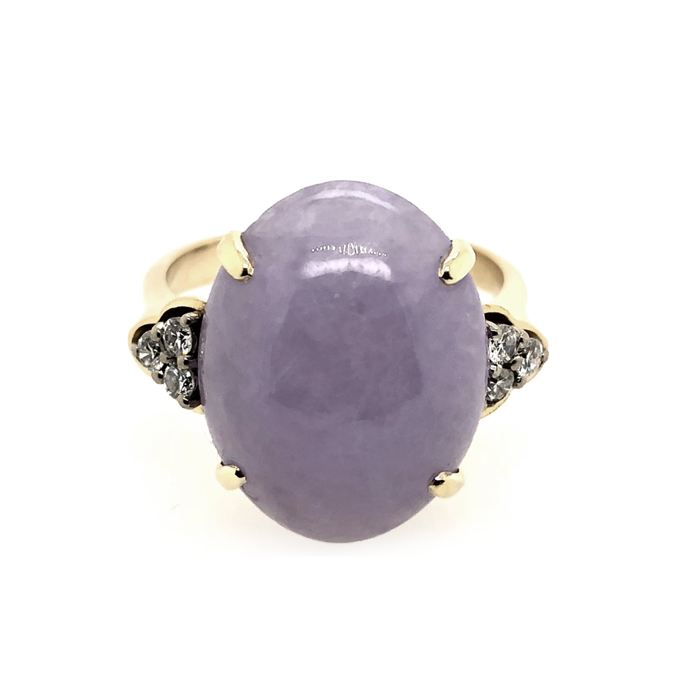 Vintage Yellow Gold Purple Jade and Diamond Ring
