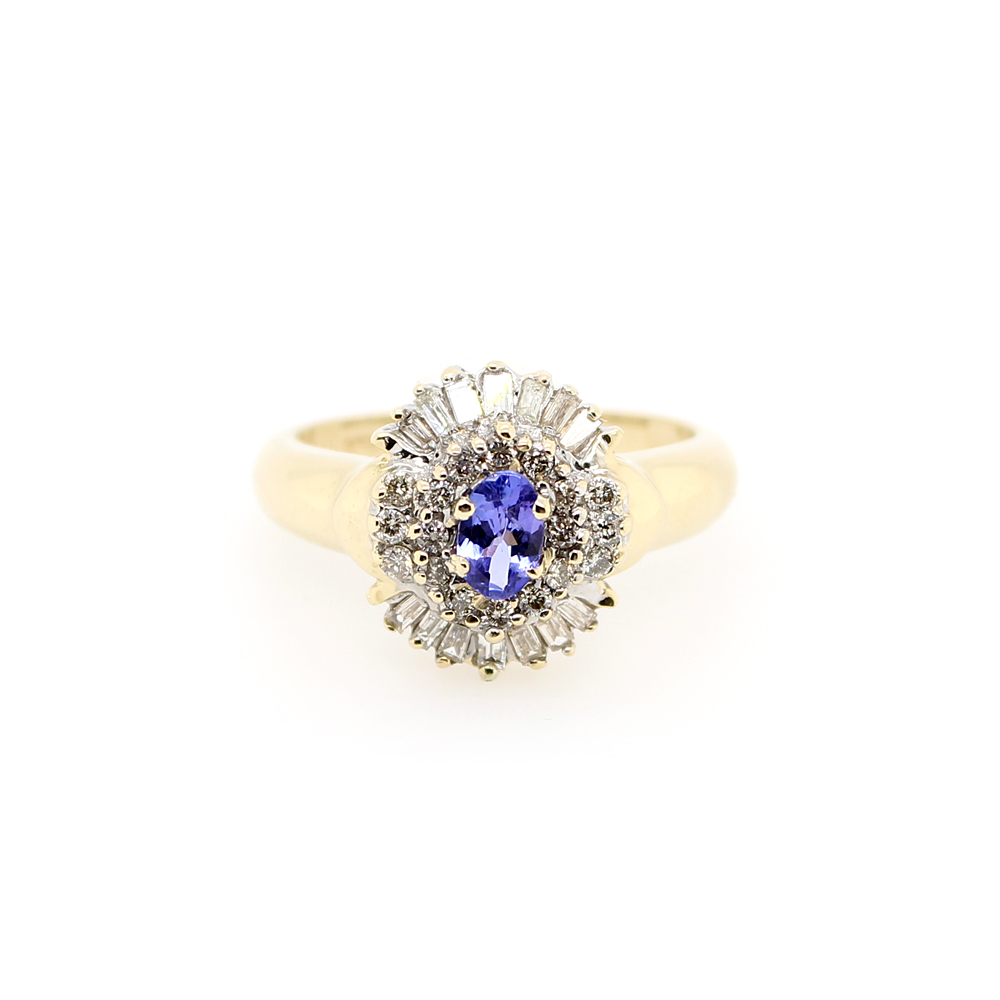 Estate 14 Karat Yellow Gold Tanzenite and Diamond Ring