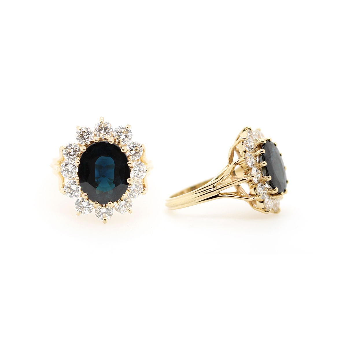 Estate 14 Karat Yellow Gold Blue Sapphire and Diamond Ring