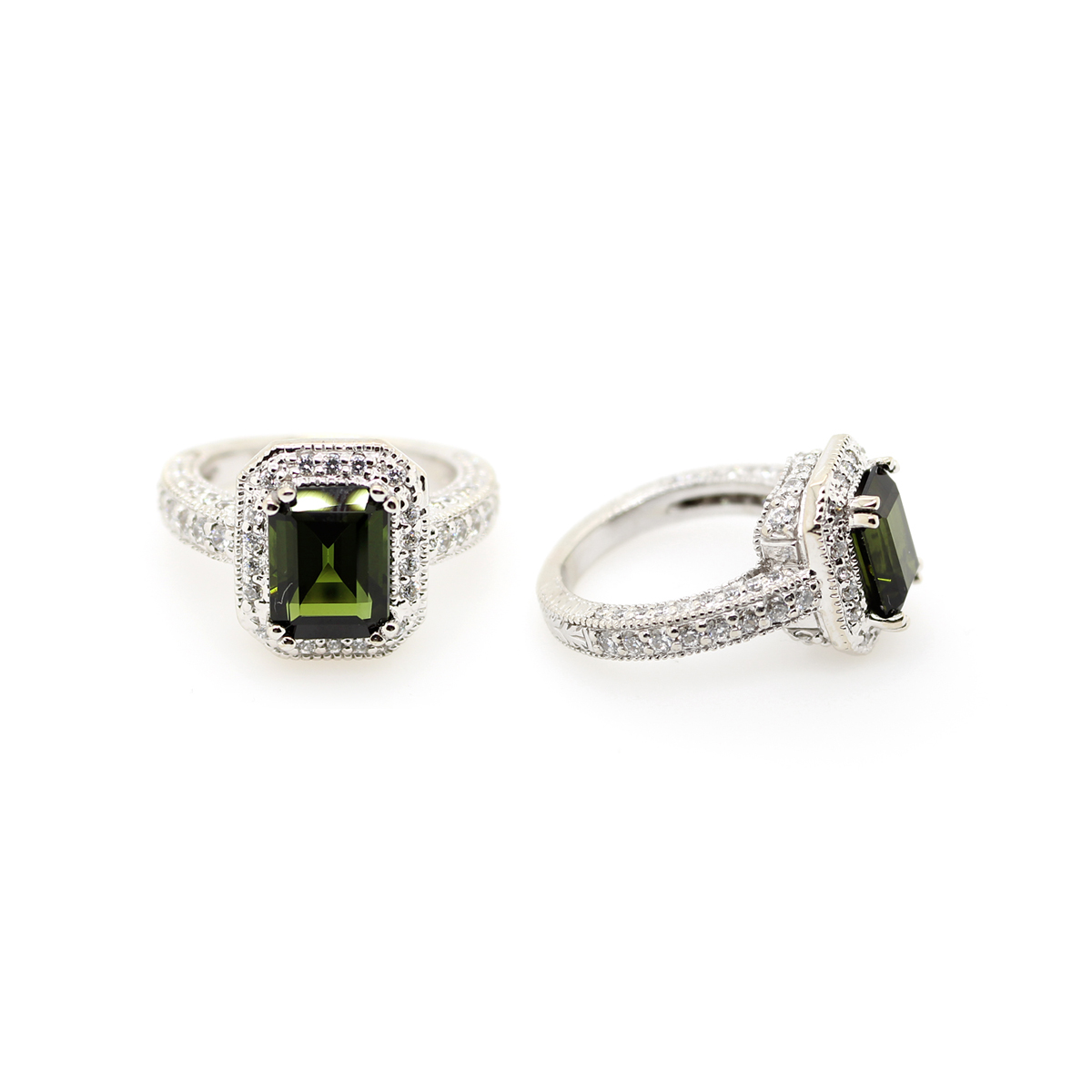 Vintage 14 Karat White Gold Green Tourmaline and Diamond Ring
