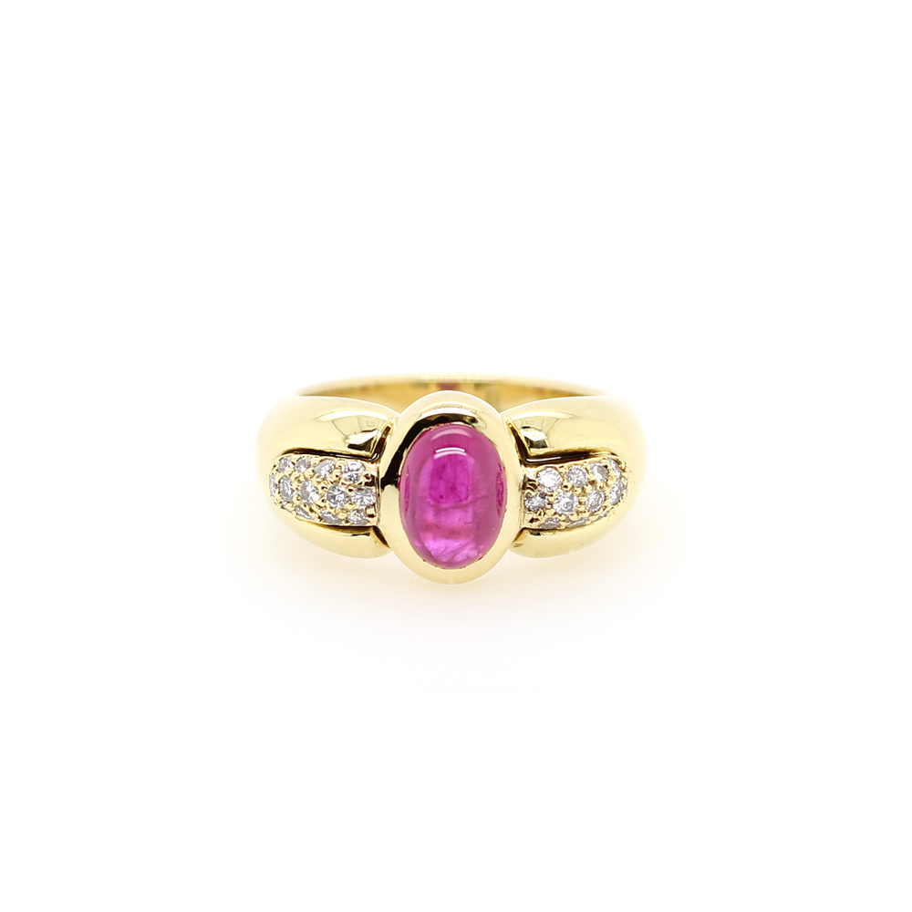 Vintage 18 Karat Yellow Gold Ruby and Diamond Ring