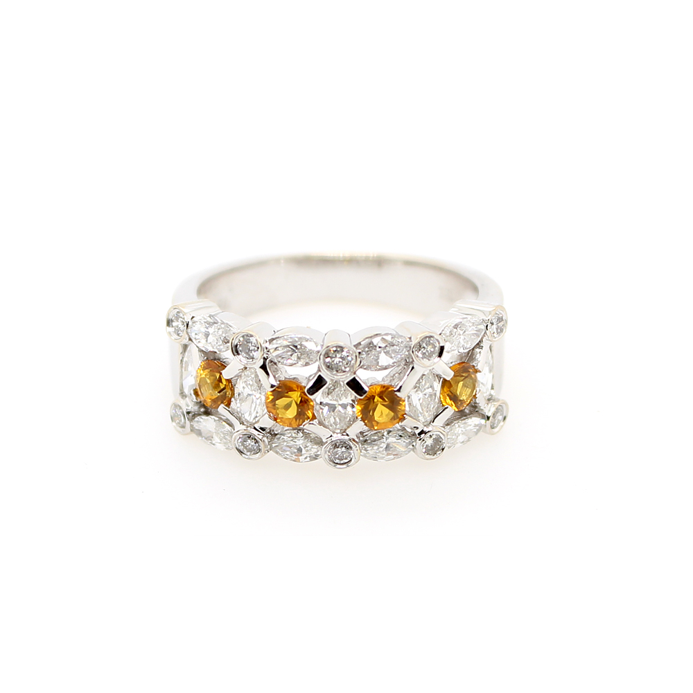 Vintage 18 Karat White Gold Yellow Sapphire and Diamond Ring