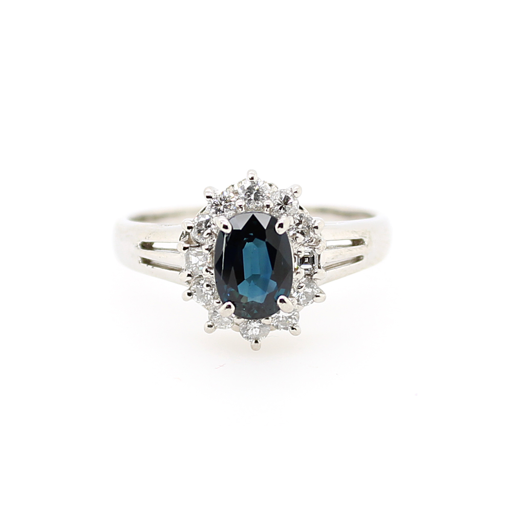 Vintage Platinum Sapphire and Diamond Ring