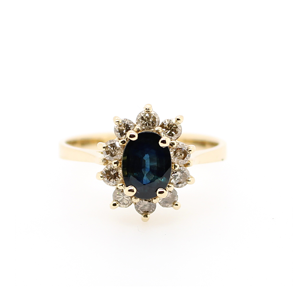 Vintage 14 Karat Yellow Gold Sapphire and Diamond Ring