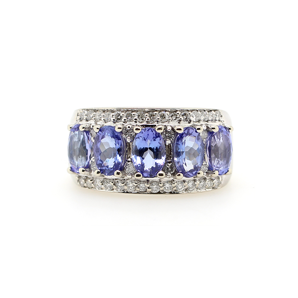 Vintage 14 Karat White Gold Sapphire and Diamond Ring