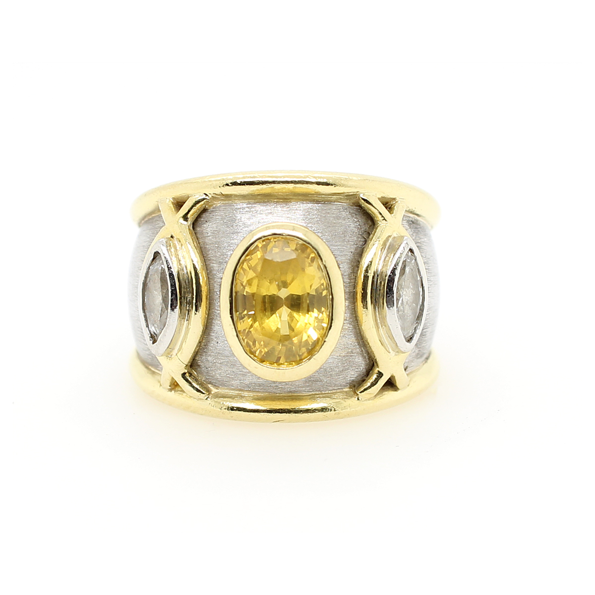 Vintage Boris LeBeau Platinum, Golden Yellow Sapphire and Diamond Ring