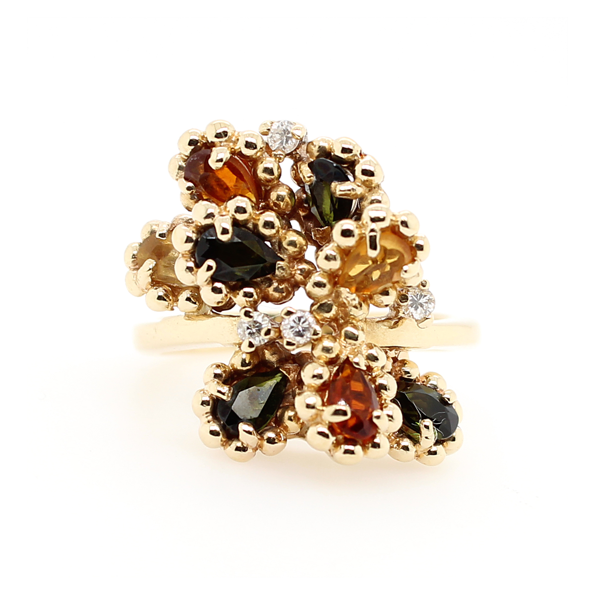 Vintage 14 Karat Yellow Gold Free Form Multi Color Stone and Diamond Ring