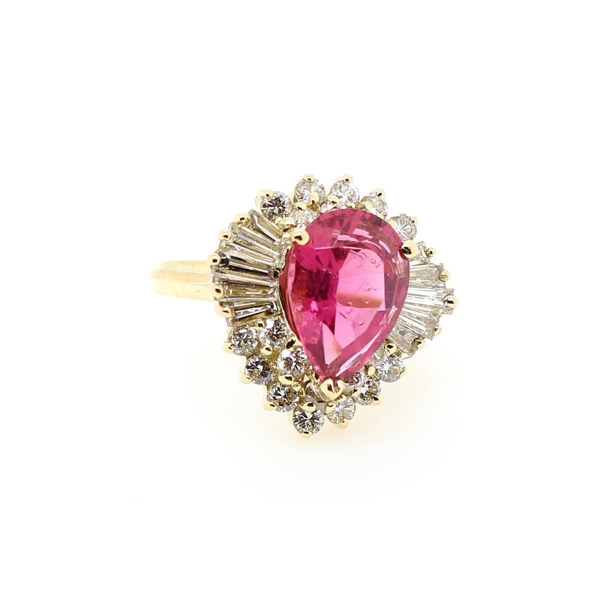 Vintage 18 Karat Yellow Gold Pink Rhodolite Garnet and Diamond Ring