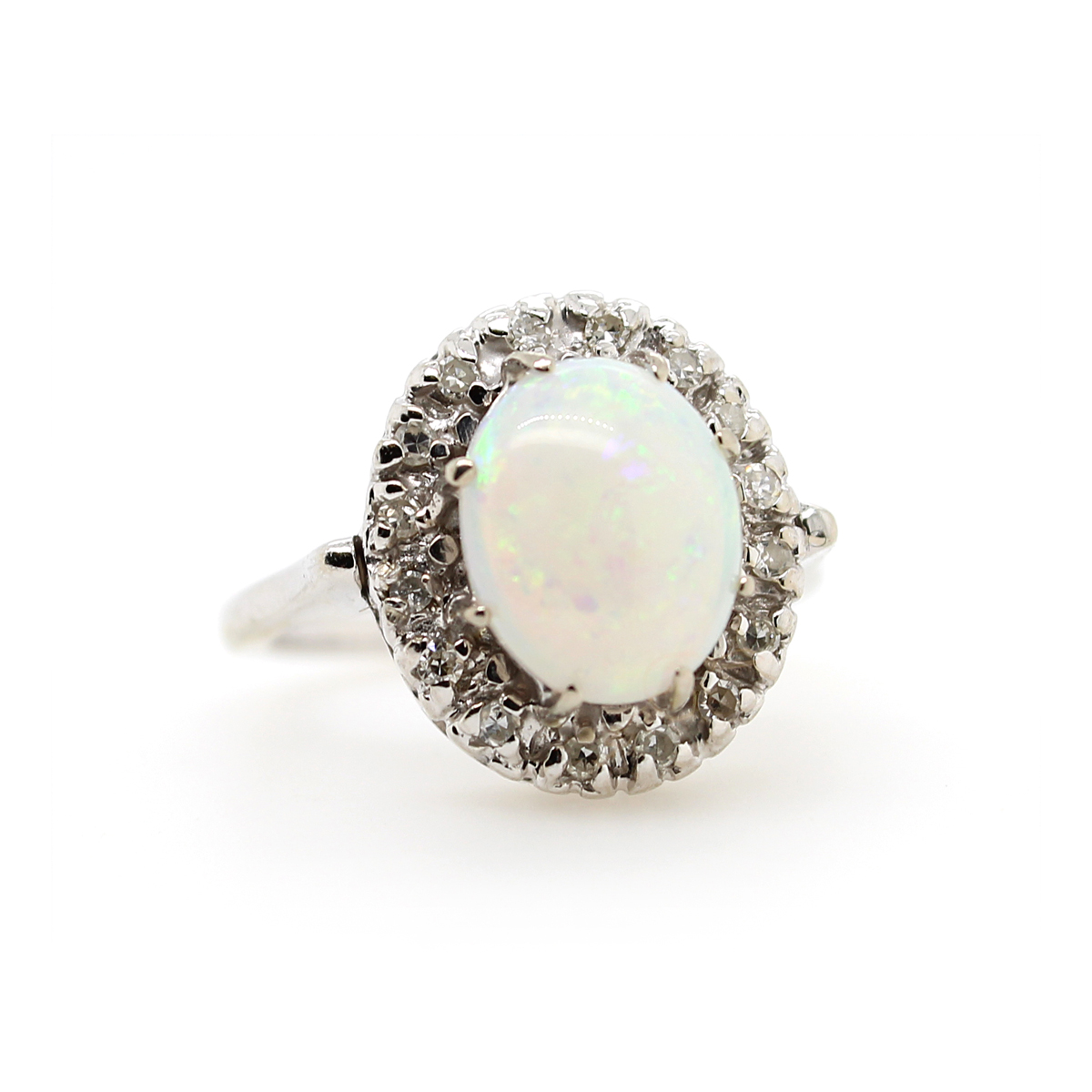 Vintage 14 Karat White Gold Oval Opal and Diamond Ring