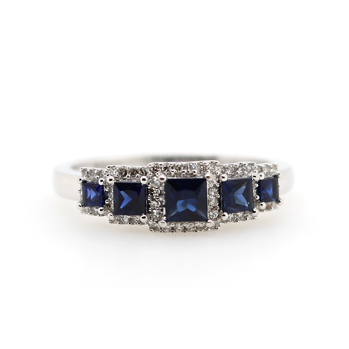 Vintage 14 Karat White Gold Princess Cut Blue Sapphire and Diamond Ring