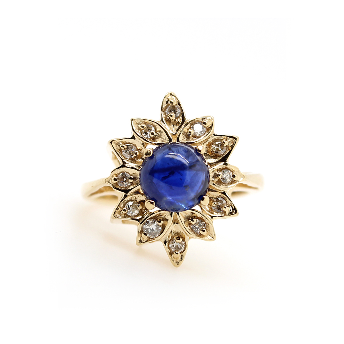 Vintage 14 Karat Yellow Gold Cabochon Blue Sapphire and Diamond Ring