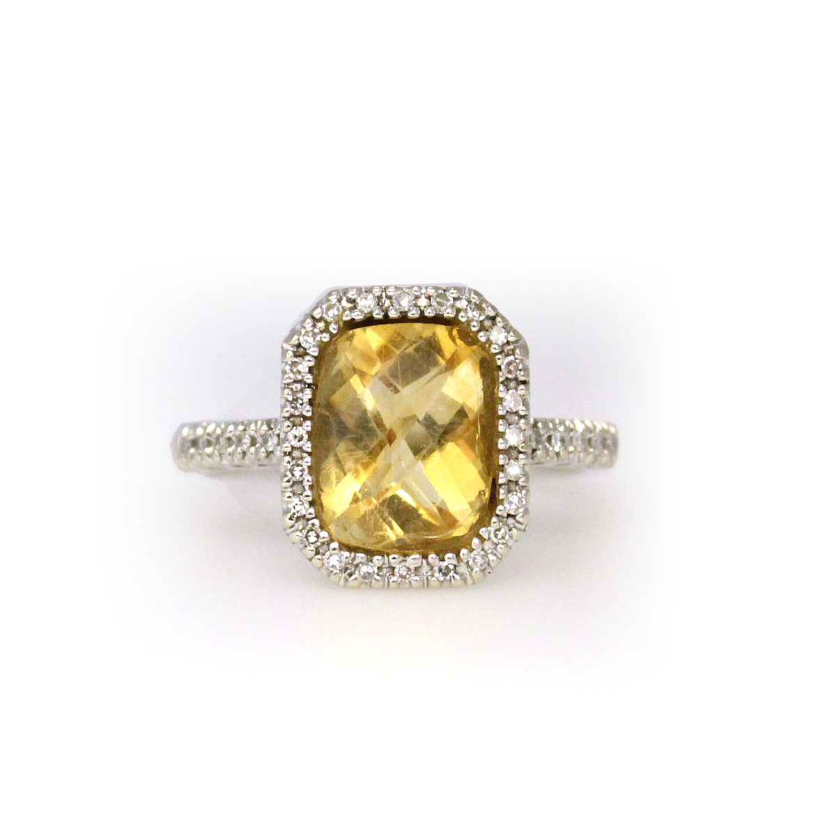 Vintage 14 Karat White Gold Citrine and Diamond Ring