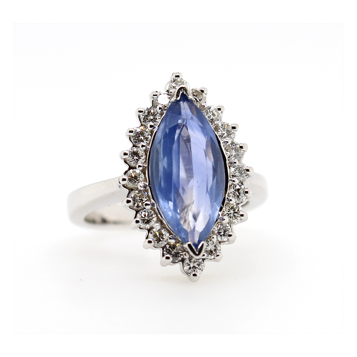 Vintage 18 Karat White Gold Marquise Natural Sapphire and Diamond Ring