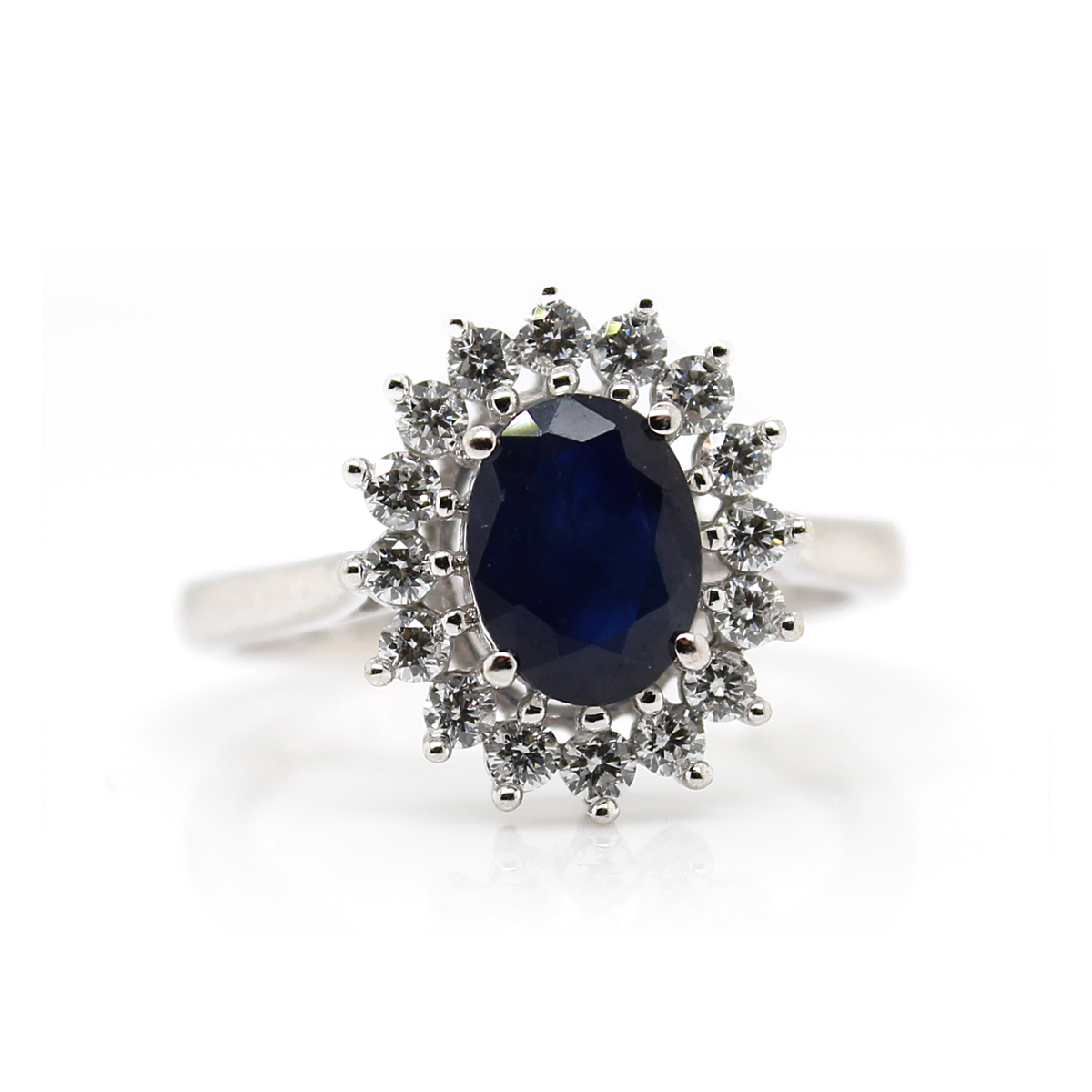 Vintage 14 Karat White Gold oval Blue Sapphire and Diamond Ring