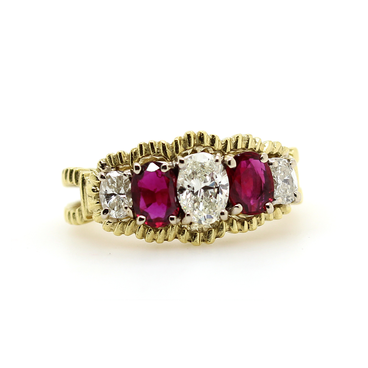 Vintage 18 Karat Yellow Gold Oval Diamond and Ruby Ring