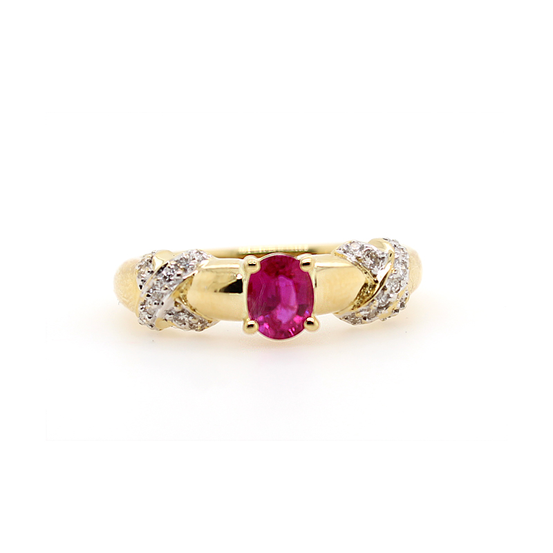 "Vintage 14 Karat Yellow Gold Oval Ruby and Diamond ""X"" Ring"