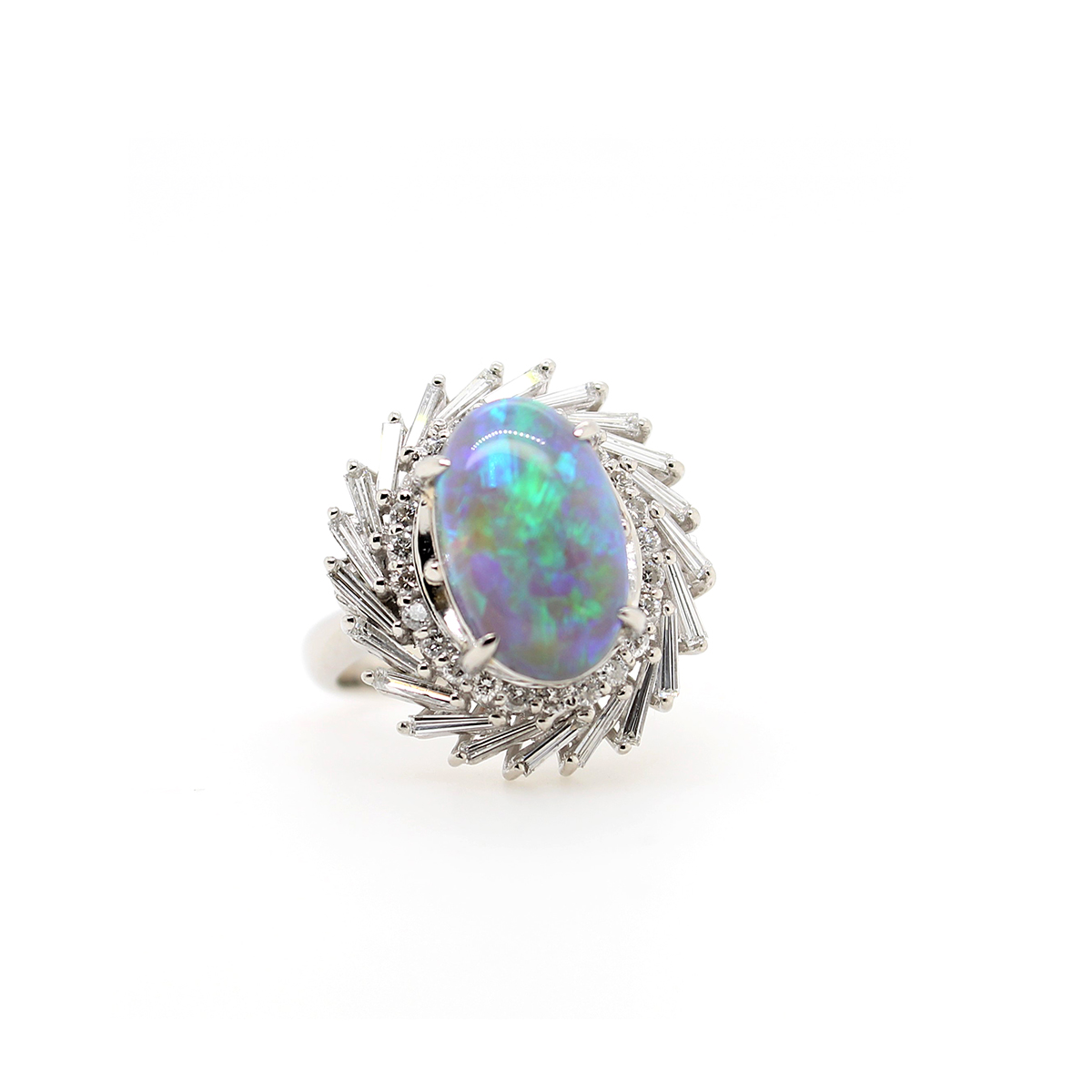 Vintage Platinum Black Opal and Diamond Ring