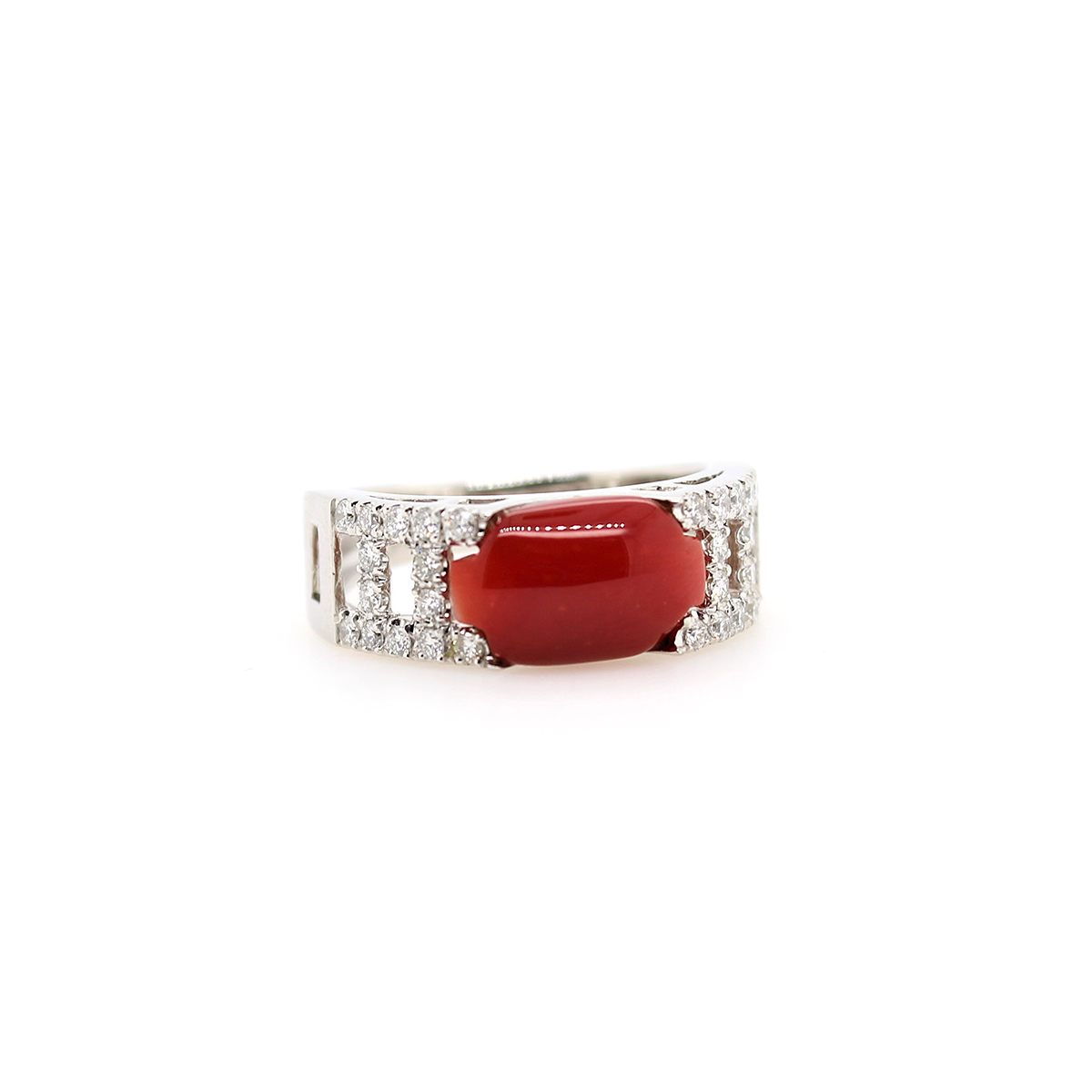 Vintage Platinum Oxblood Coral and Diamond Ring