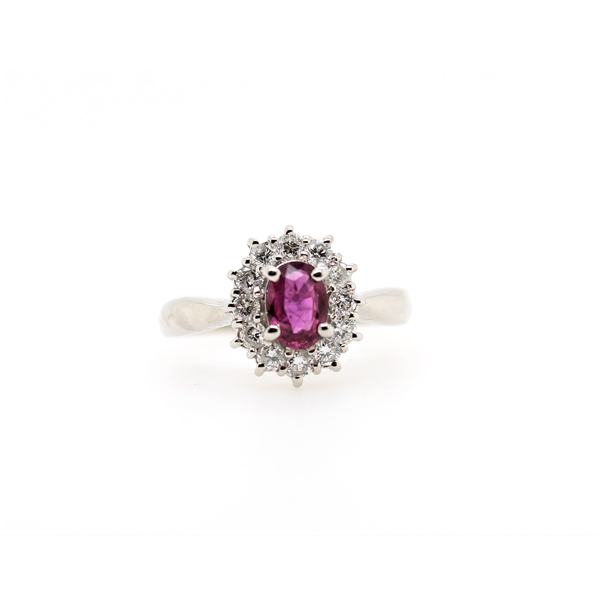 Vintage Platinum Ruby and Diamond Ring