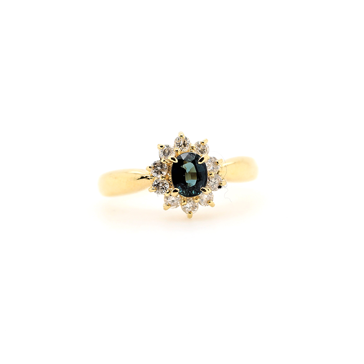 Vintage 18 Karat Yellow Gold Oval Blue Sapphire and Diamond Ring
