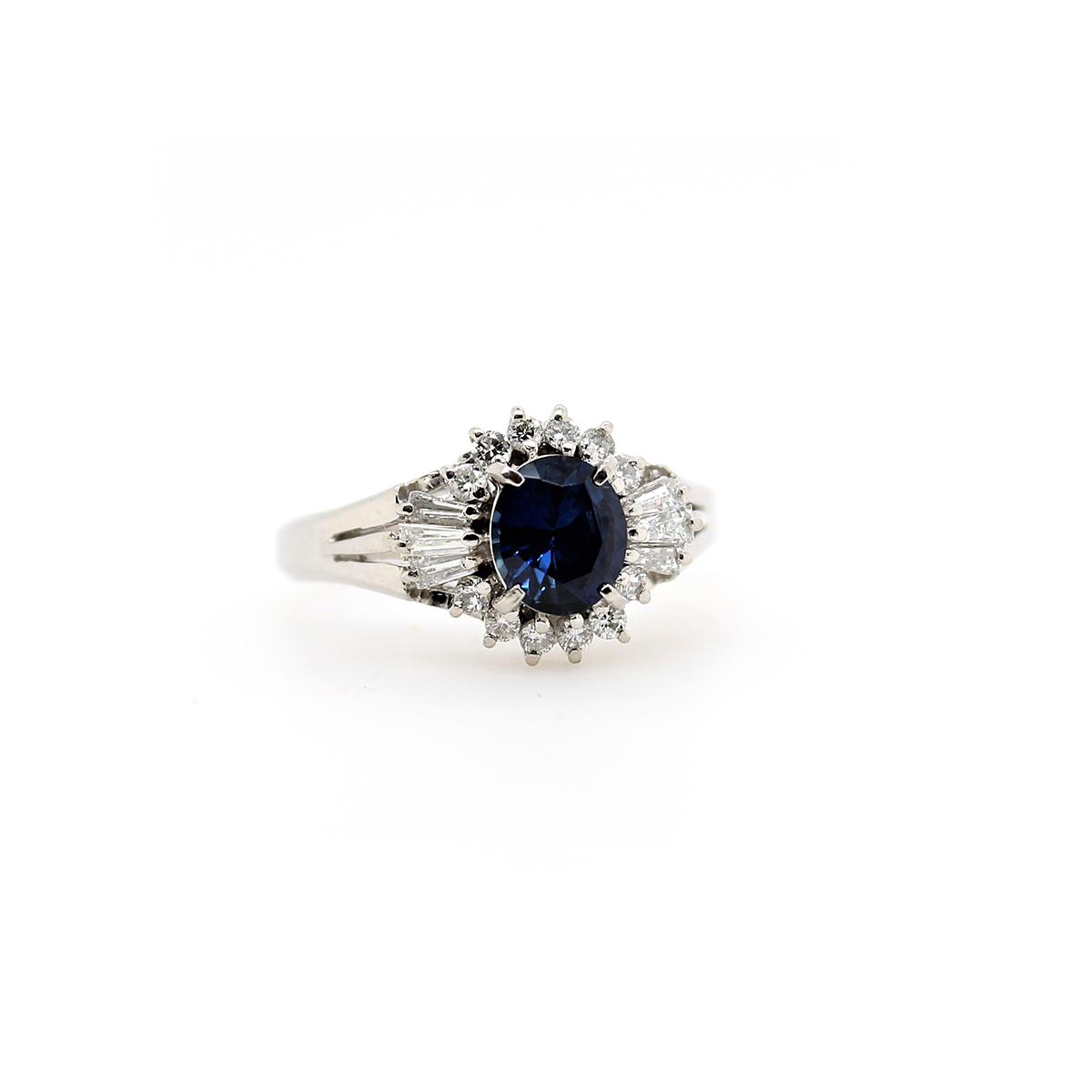 Vintage Platinum Blue Sapphire and Diamond Ring
