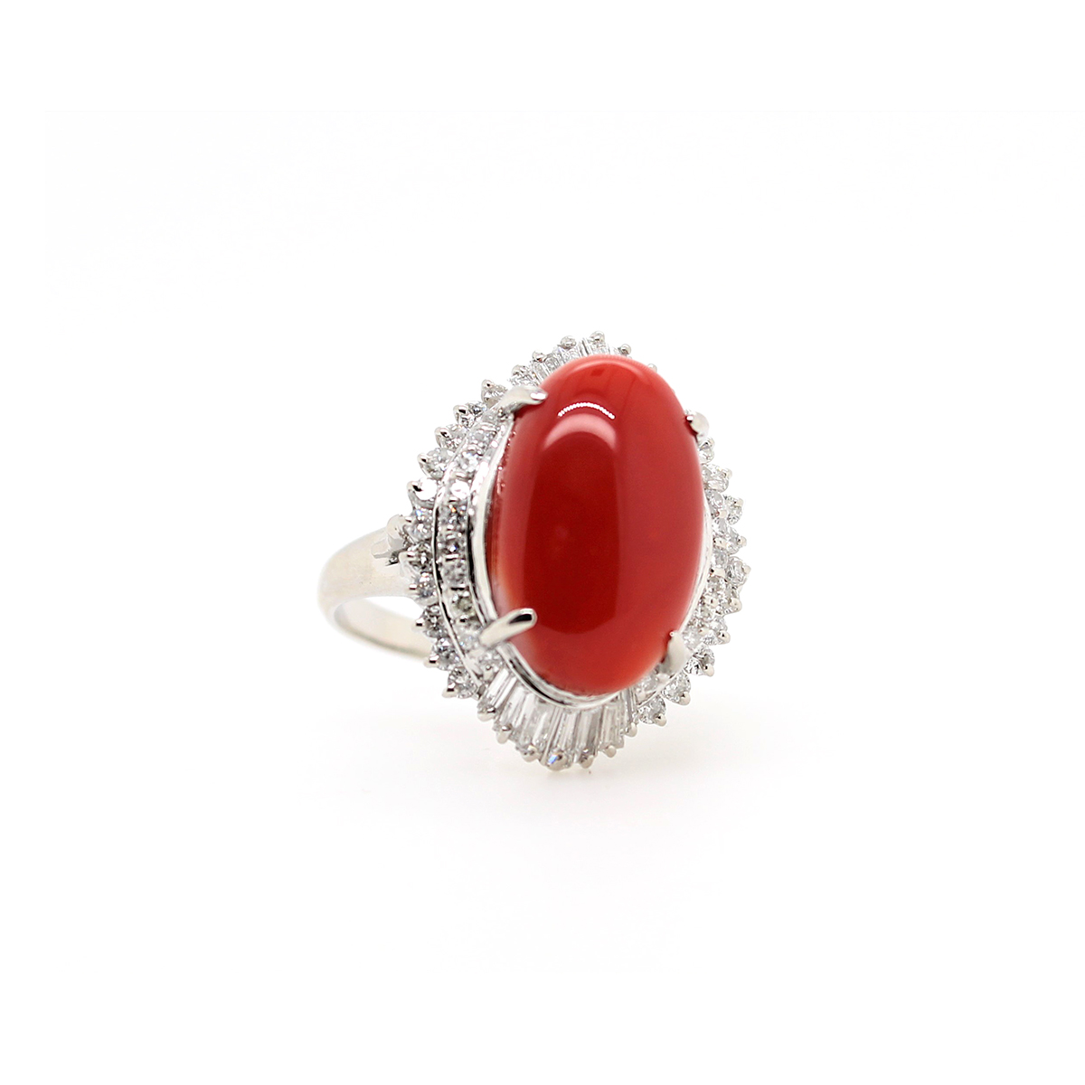 Vintage Platinum Oval Coral and Diamond Ring