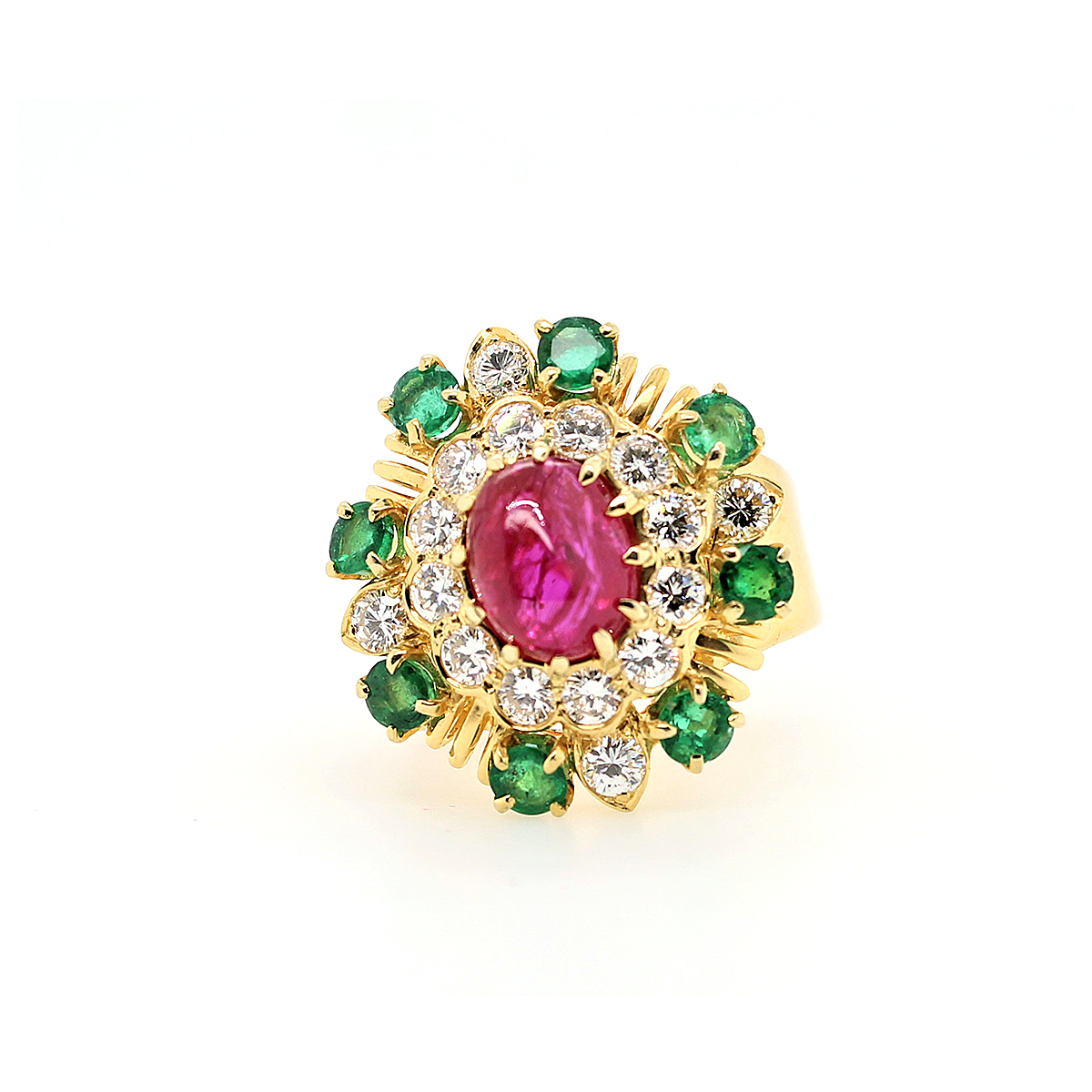 Vintage 18 Karat Yellow Gold Ruby, Emerald and Diamond Ring