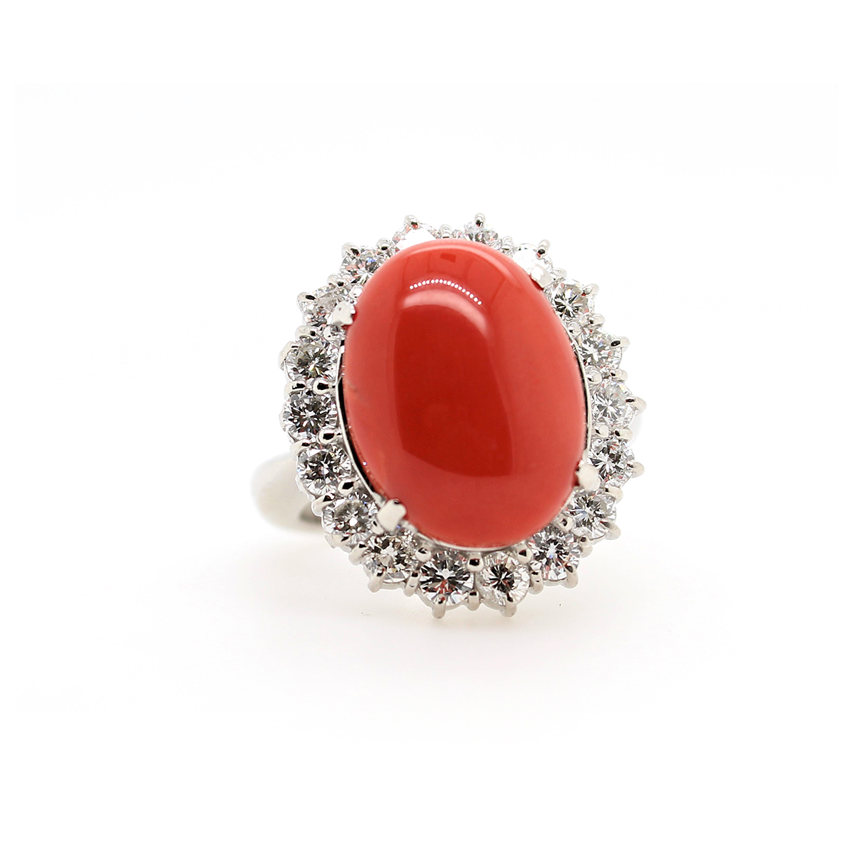 Vintage Platinum Cabochon Coral and Diamond Ring